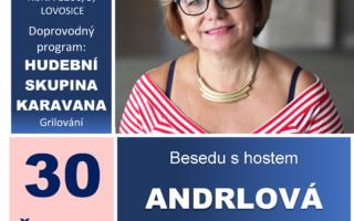 Pozvánka na besedu s paní Ivanou Andrlovou, herečkou, zpěvačkou a hudebním doprovodem Karavana