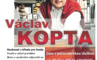 """Pozvánka na besedu s panem Václavem Koptou, hercem a moderátorem a hudebním doprovodem """"Melodie Petra Vrány"""""""